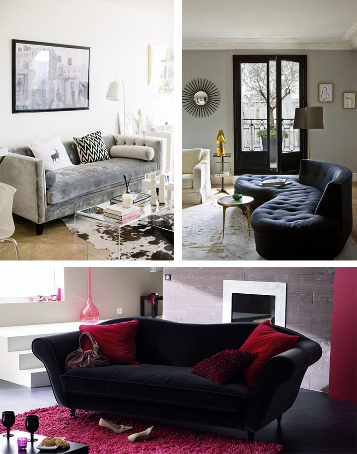 la fabrique d co canap en velours choisir son style et sa couleur. Black Bedroom Furniture Sets. Home Design Ideas