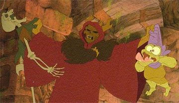 Horned King choking Creeper Black Cauldron 1985 animatedfilmreviews.blogspot.com