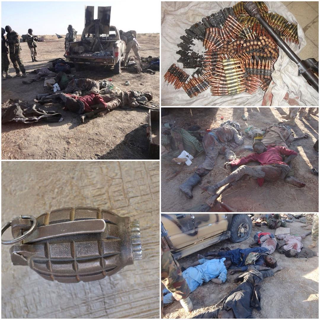 Graphic Photos: Military Slaughters 21 Boko Haram Terrorists, Recovers Weapons During Foiled Attack On Marte