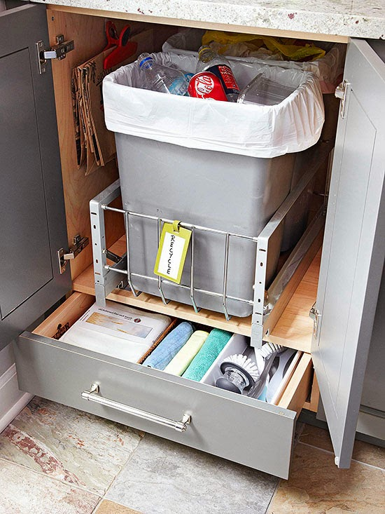 And Recycling Receptacles Inside A Deep Cabinet Retrofit Cabinets