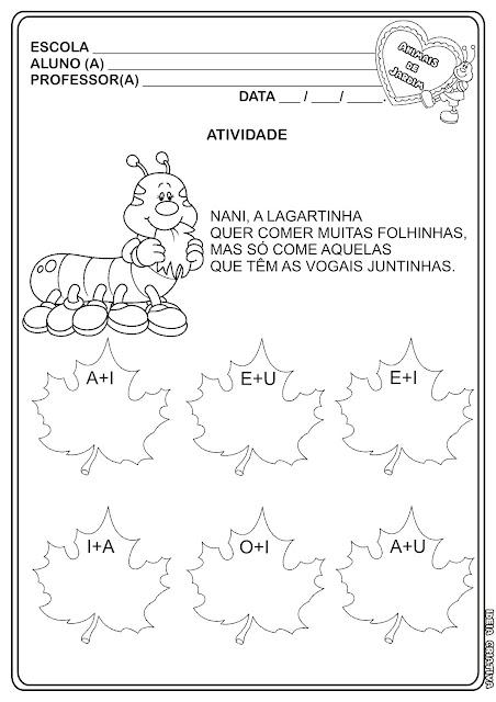 Atividade Encontro Vocálico Educação Infantil