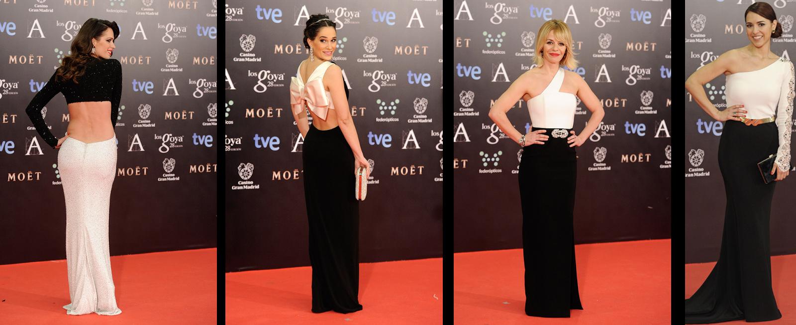 Gala de los Goya 2014 actrices vestidas de negro y blanco