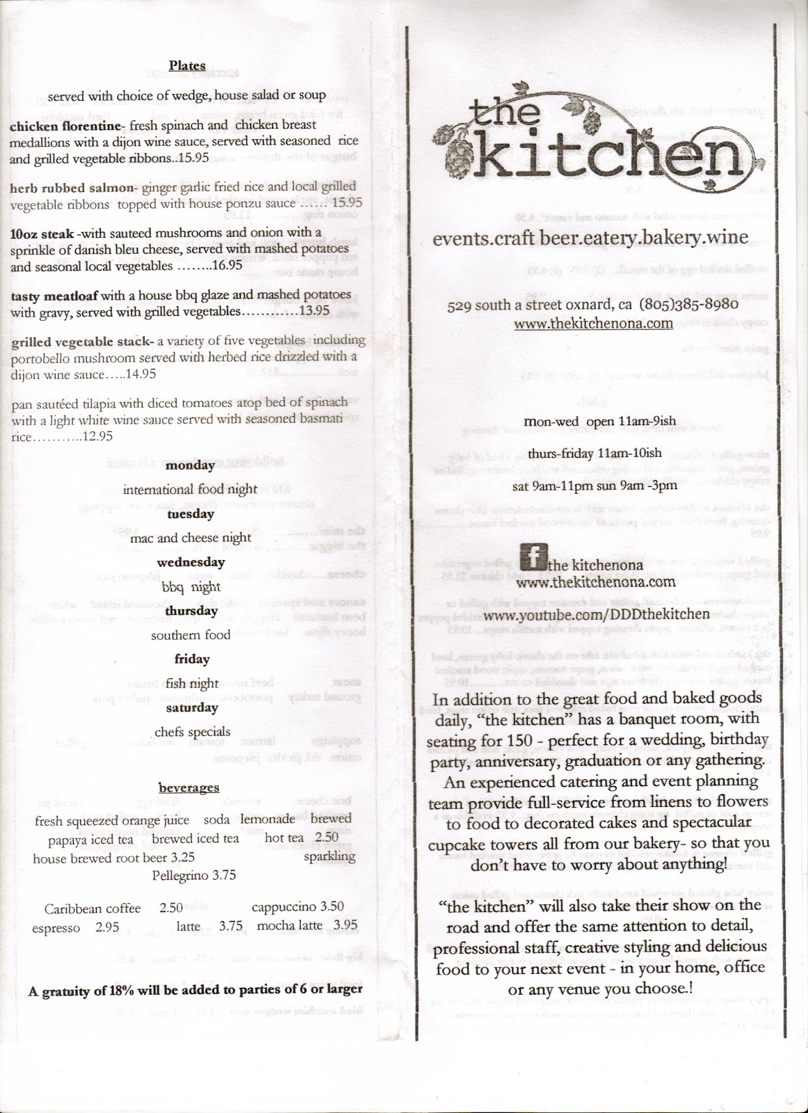 vc menu the kitchen oxnard