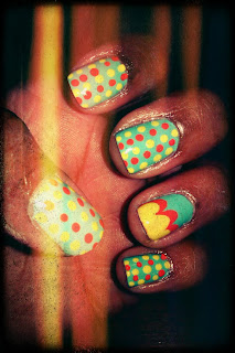 Polka dots, clouds, yellow, coral, nail art, mani