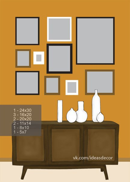 Handmadera 8 ideas to arrange pictures on the wall - Cuadros pequenos para decorar ...