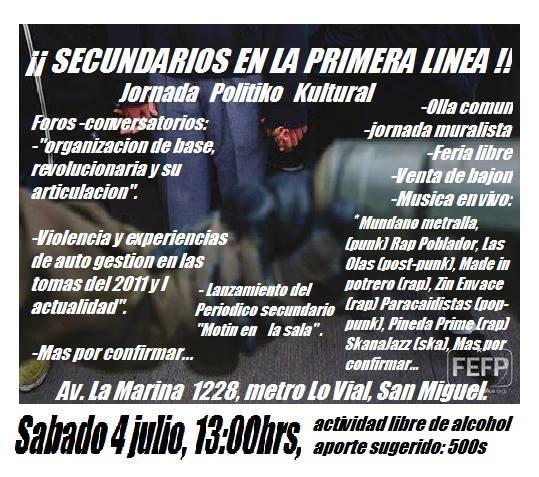 SAN MIGUEL:  ¡¡ SECUNDARIOS EN LA PRIMERA LINEA!!, JORNADA POLITIKO kULTURAL