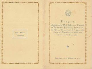 Portada del díptico que anunciaba el banquete de clausura del Torneo Internacional de Ajedrez Barcelona 1929
