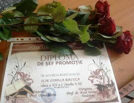 Diploma de şef-promoţie, Raluca Ilie, clasa a XII-a C