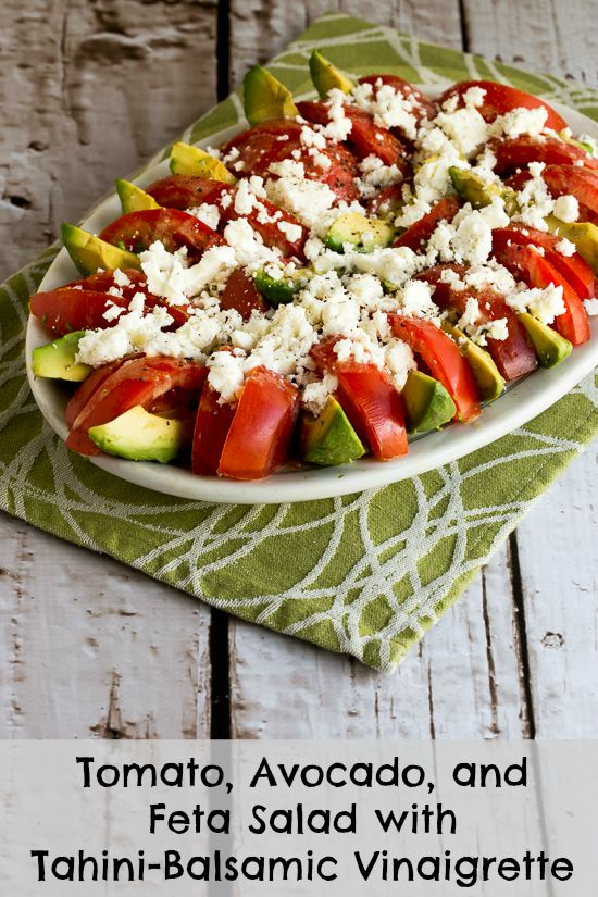 Tomato, Avocado, and Feta Salad with Tahini-Balsamic Vinaigrette found on KalynsKitchen.com