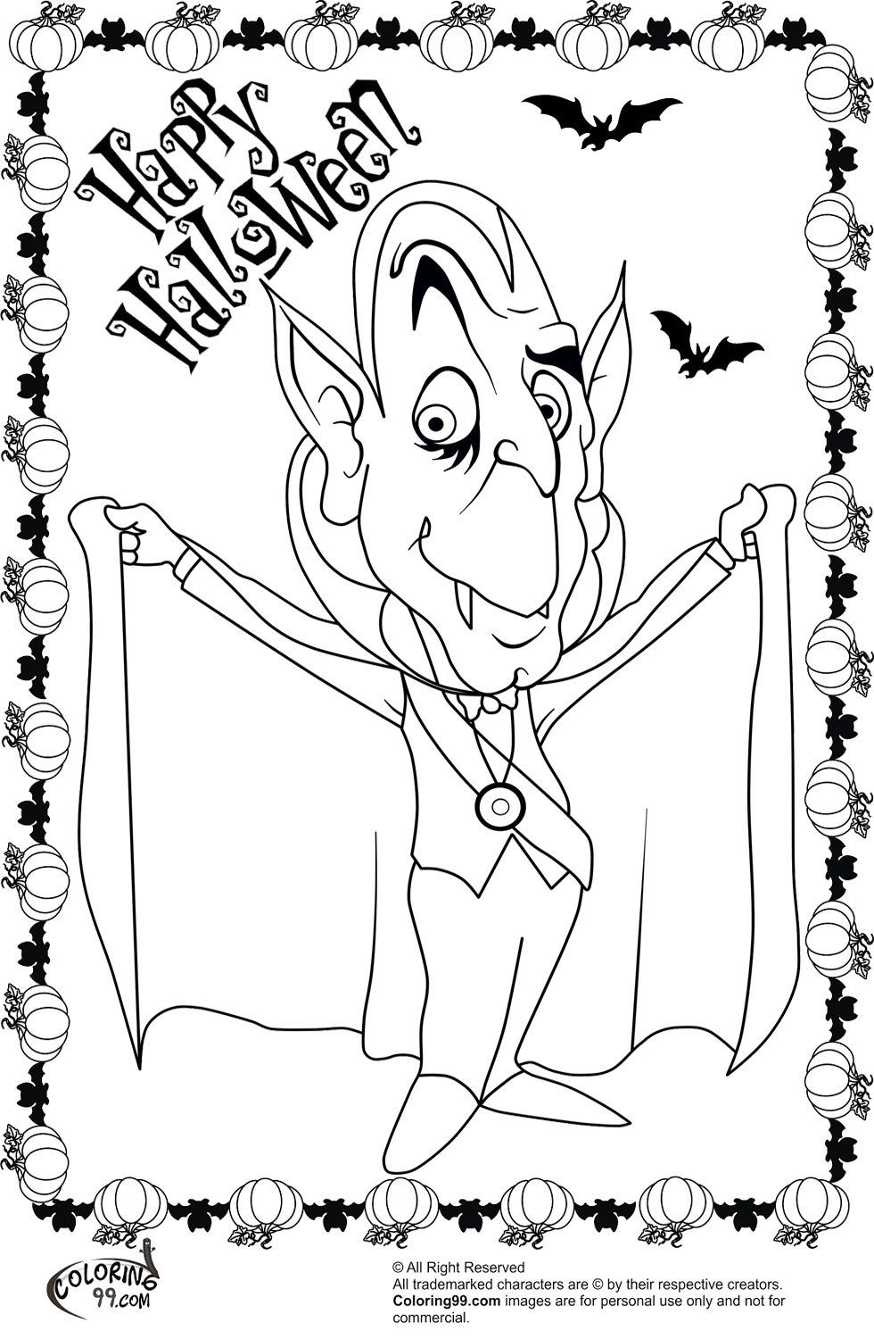 Halloween Dracula Coloring Pages | Minister Coloring