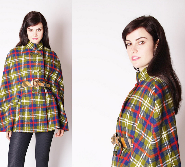 Colorful Plaid Cape #vintage #cape