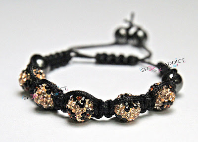 Gold & Black Shamballa Bracelet