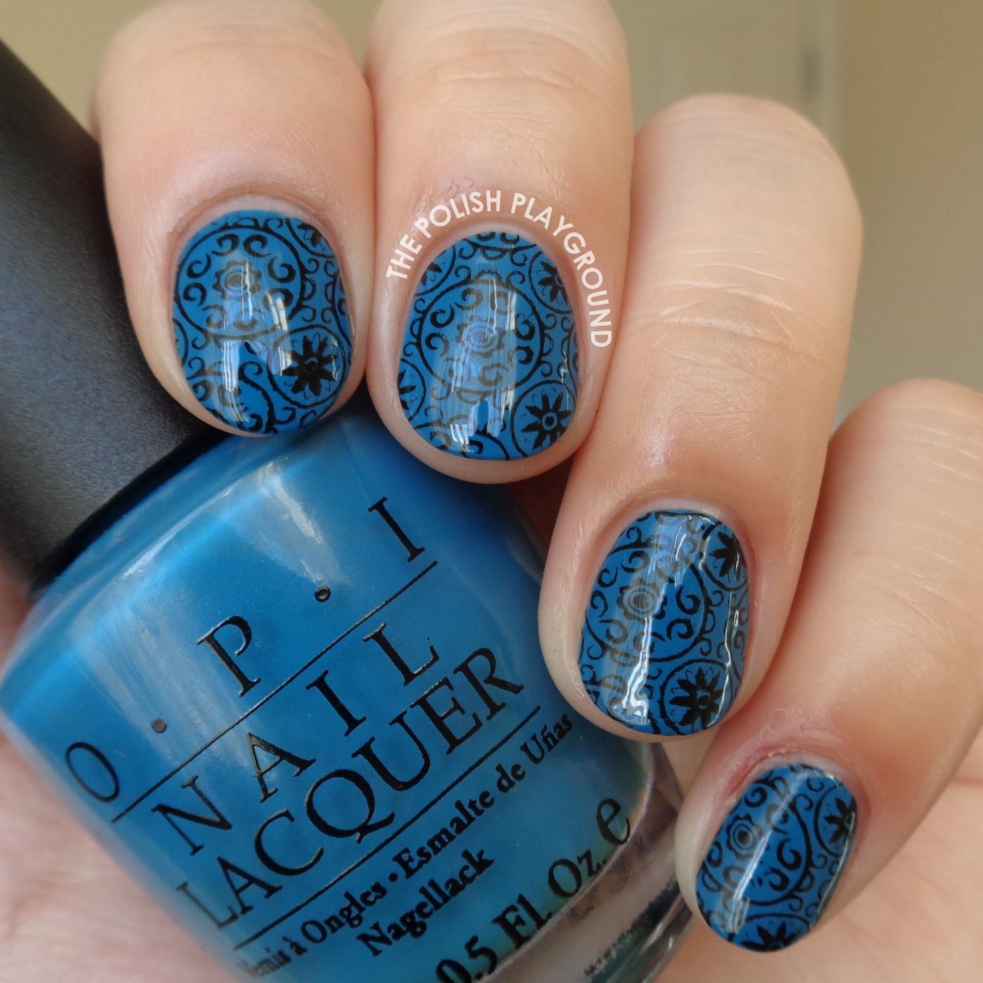 Blue and Black Circular Pattern Wallpaper Stamping Nail Art