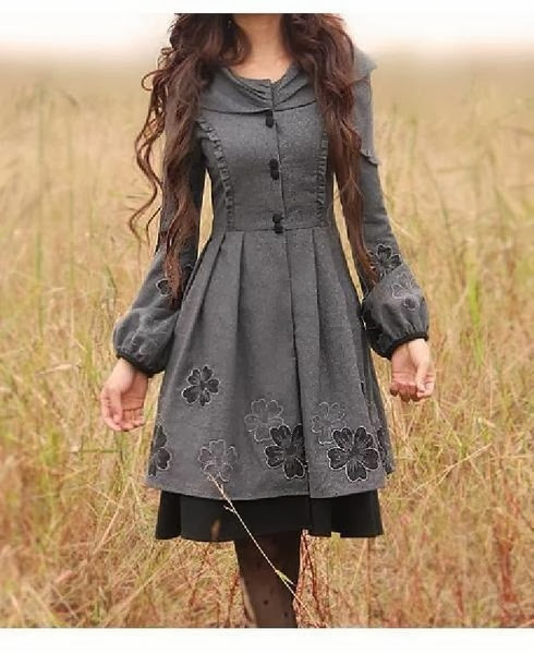 Warm floral dark grey dress for winter