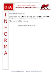 C.T.A. INFORMA CRÉDITO HORARIO MANUEL FERNANDEZ, JULIO 2018