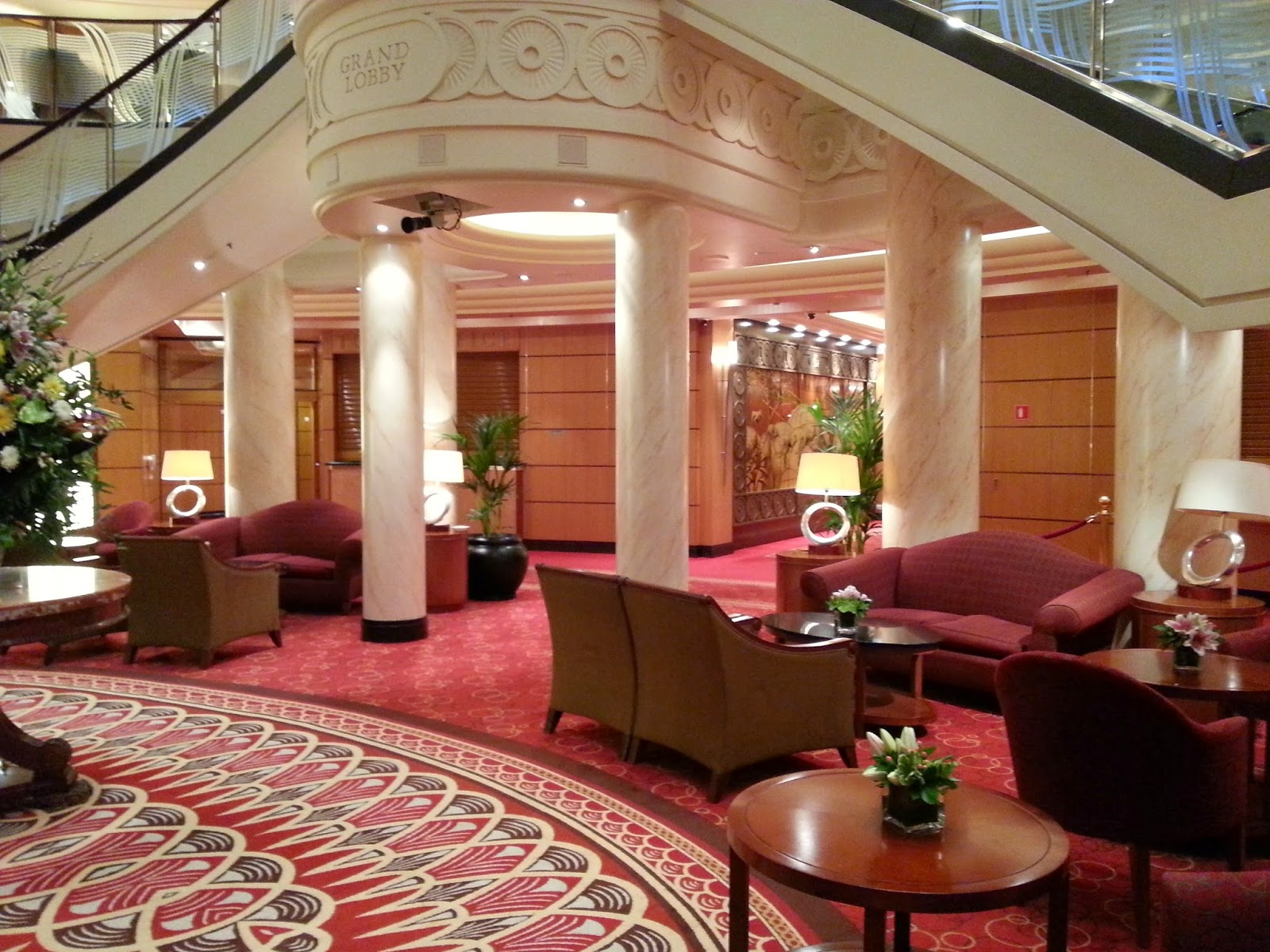Queen Mary 2 (QM2) - Grand Lobby and Mayfair Shops