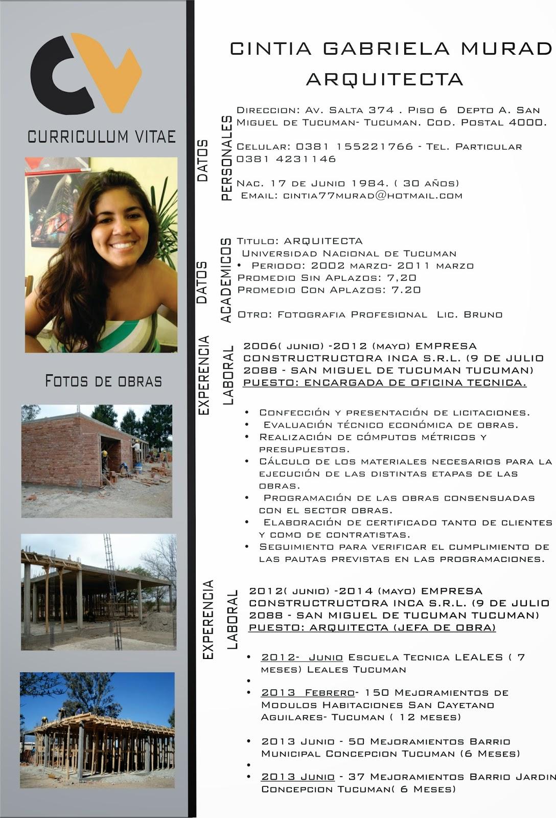 Curriculum vitae arquitecta cintia murad for Curriculum arquitecto