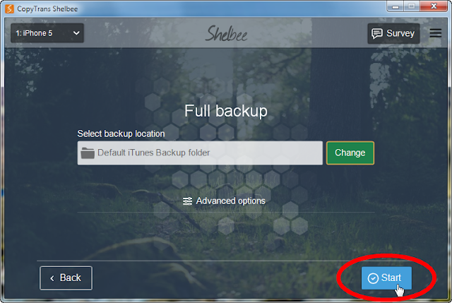 start iphone backup with copytrans shelbee