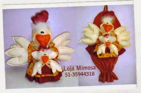 Puxa-saco em formato de galinha com moldes