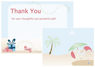 Free Thank You Card offered as part of the Summer Santa Stationery Set created by Robert Aaron Wiley for the Microsoft Office Online library