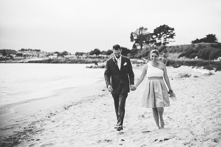 """bride and groom on beach in half moon bay"""