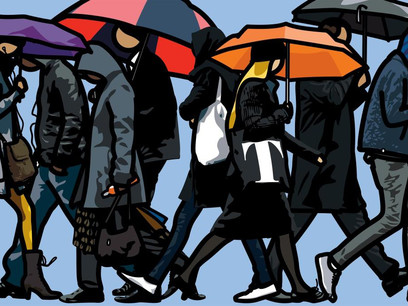 colour painting of a London crowd, some with umbrellas, walking in the rain