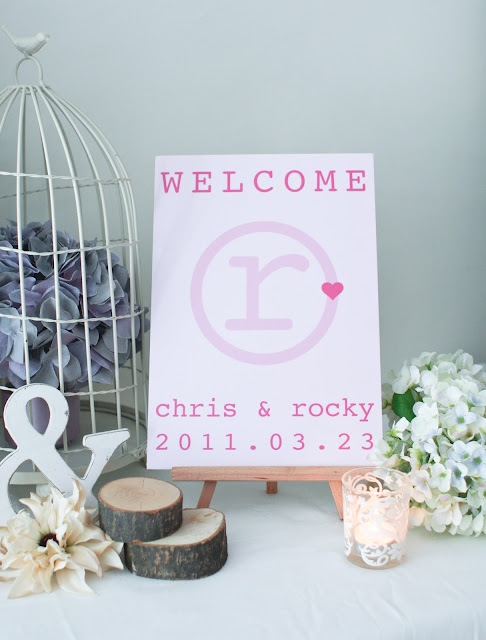 welcome board and floral decoration