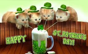 Funny pic Cats drinking green beer through a straw, Happy St Patrick's day.