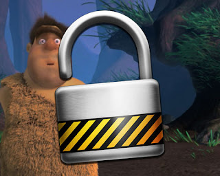 iOS Guided Access: image of a padlock in front of a surprised caveman.