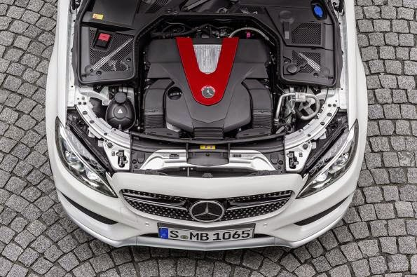 Mercedes Benz C450 AMG bonnet up
