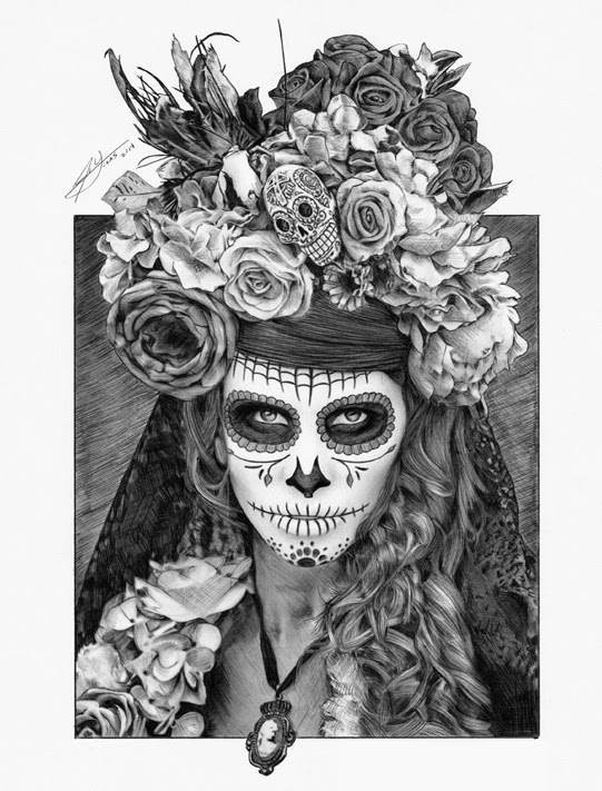 13-Sugar-Skull-Día-de-Muertos-Julio-Lucas-Experimenting-with-Photo-Realistic-Drawings-www-designstack-co