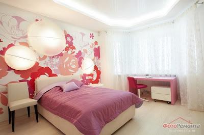 цветы на стене в современном дизайне комнаты для девочки фото