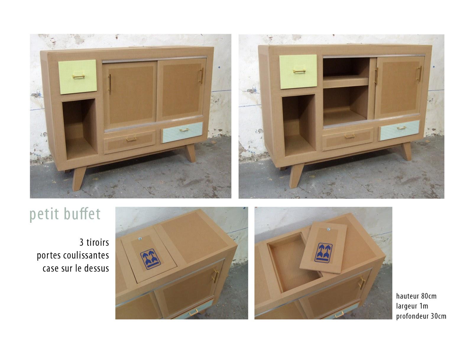 buffet en carton. meuble en carton case porte coulissante et tiroirs. création sur mesure fabriqué à marseille par juliadesign.