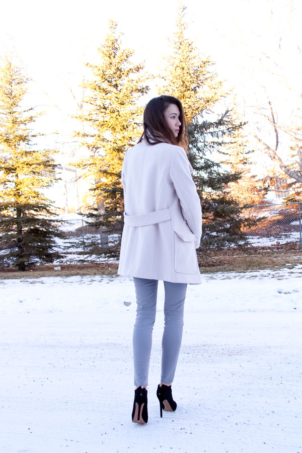 Zara Jacket, Trf, blush jacket, pink jacket, winter fashion, nine west nero booties, style, fashion blog, calgary fashion