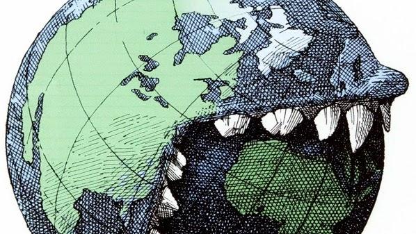 Dušan Petričić: North America eats Africa.