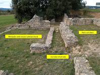 La zona del menjador o triclinum, el corredor d'entrada o fauces i el pati de la Vil·la romana de l'Espelt