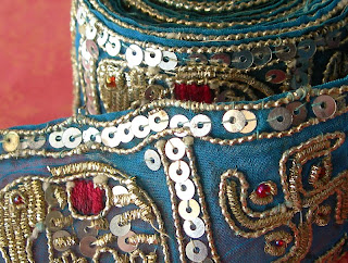 vintage sari trim with silver sequins and elephants