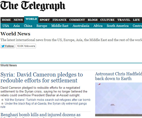 World News : The Telegraph