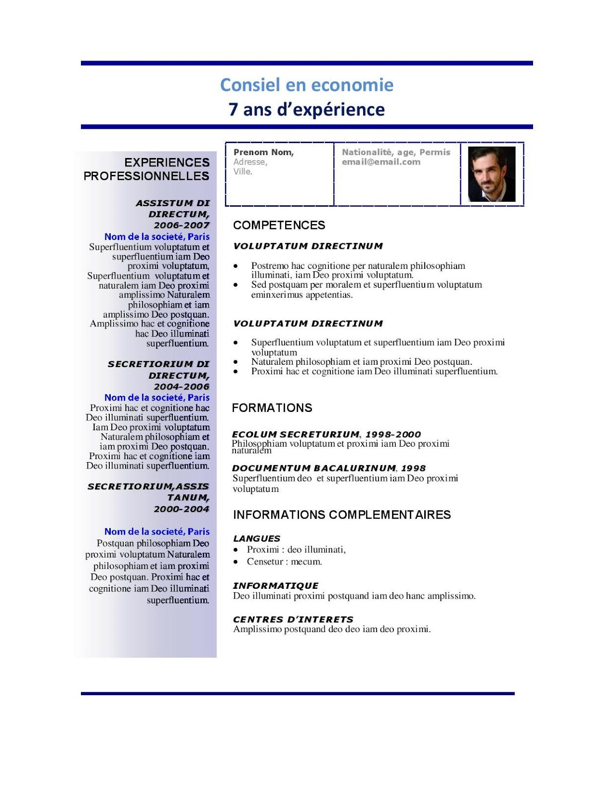 exemple cv en anglais