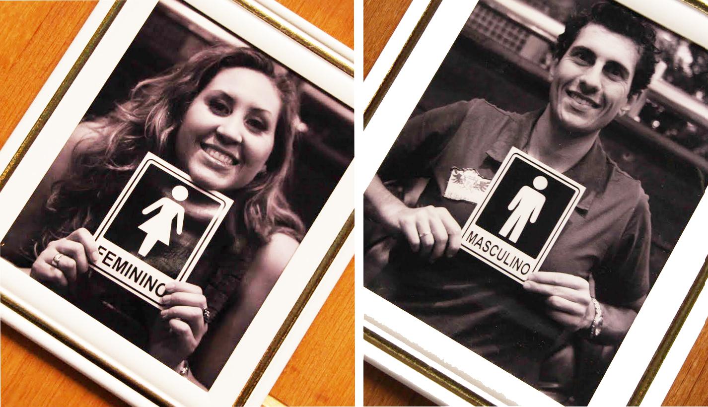 Foto dos noivos na plaquinha do banheiro? Sim! Se o banheiro não  #BB4E0D 1426 820