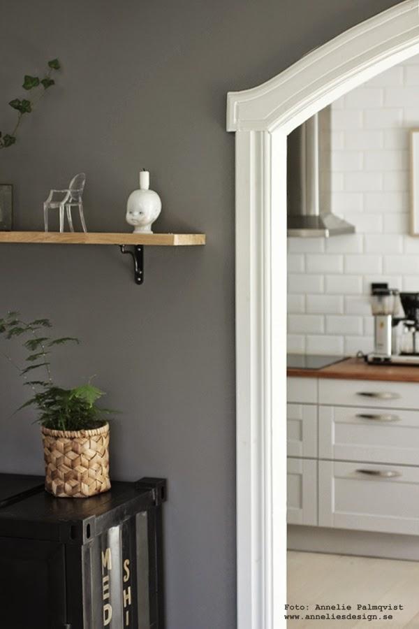 vardagsrum, kök, grått, grå, gråmålade väggar, hylla, container skåp, fkädersparris, växt, växter, kruka, krukor, svart och vitt, svartvit, inredning, inredningsblogg, bloggar, bloggen, inredning, tips, inspiration,