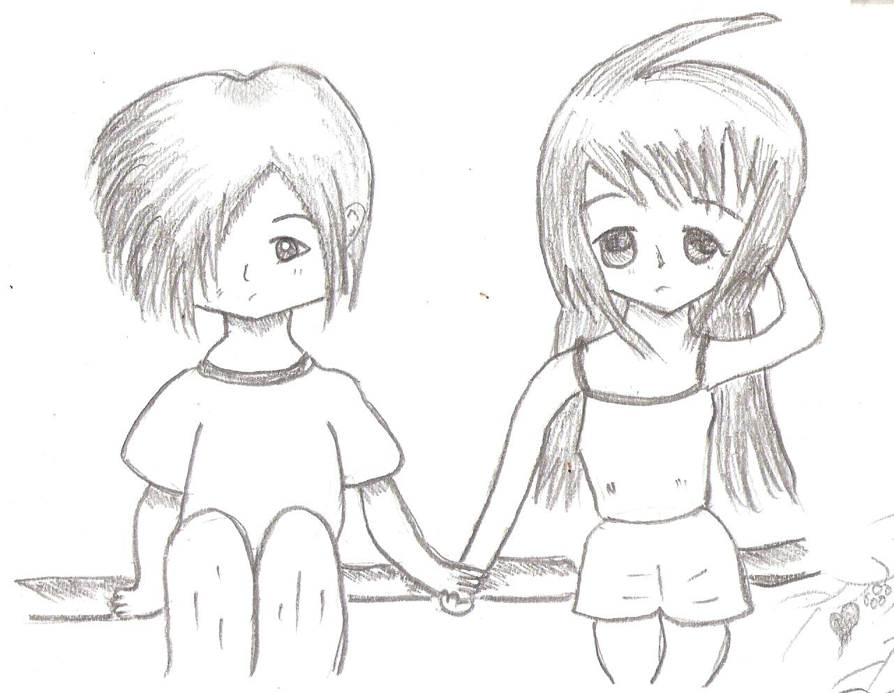 Cute Couples Drawings Easy Easy cute couple sketches.