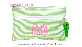 Monogrammed Green Seersucker Cosmetic Bag