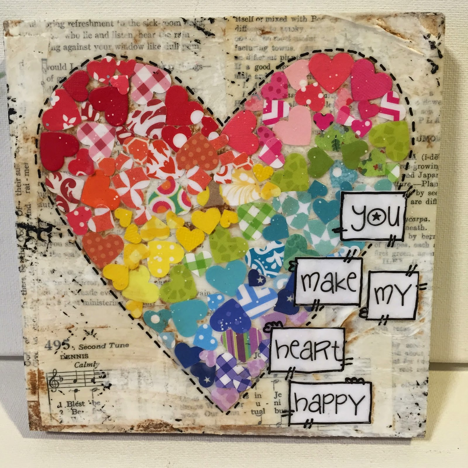 heart art, mixed media rainbow, heart sign, heart punched paper