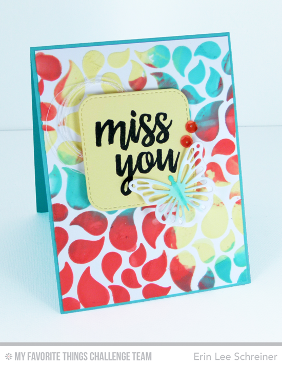 Miss You Butterfly Card by Erin Lee Schreiner featuring the Written in Watercolor stamp set, Flutter of Butterflies-Lace Die-namics, and Bold Paisley stencil #mftstamps