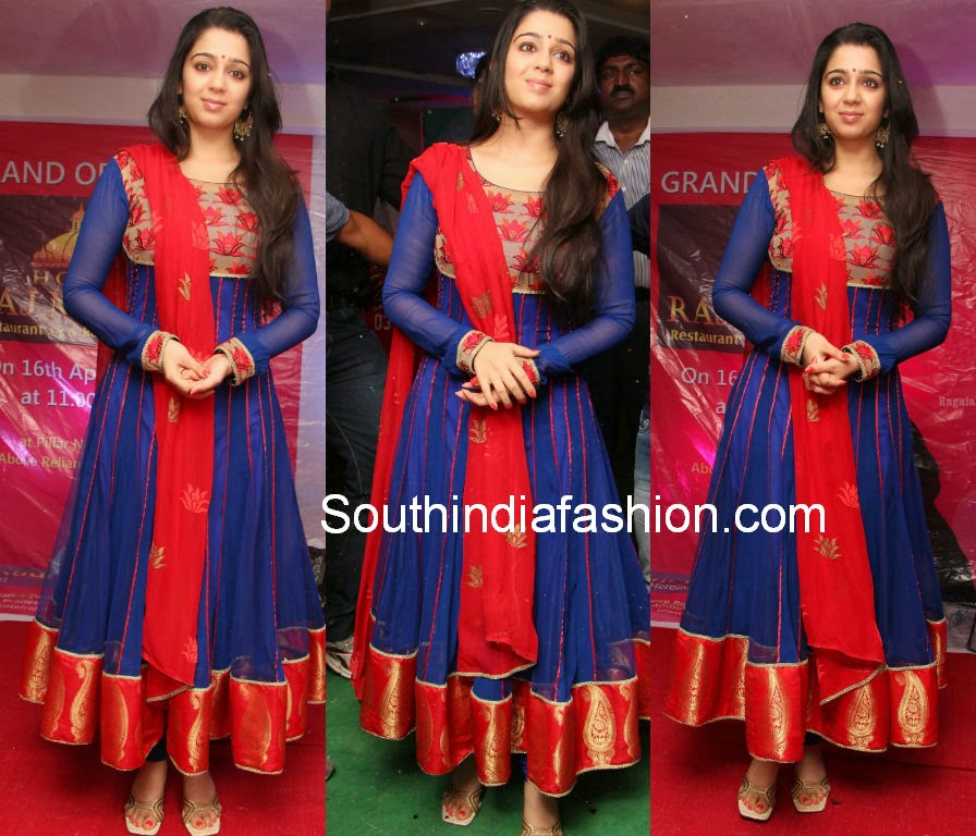 actress charmi in red and blue anarkali