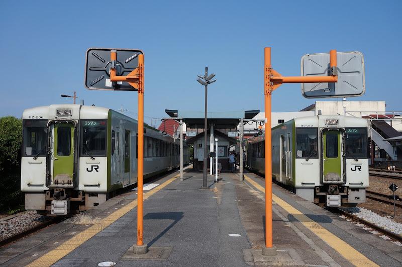 寄居駅ですれ違いをする八高線キハ110系