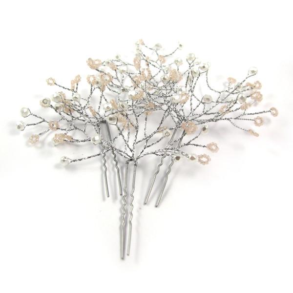 Zestaw ślubnych spinek do włosów - róż i srebro.