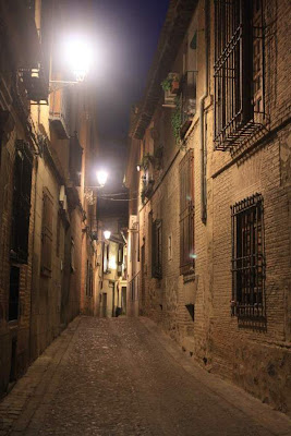 Street of Toledo lit at night