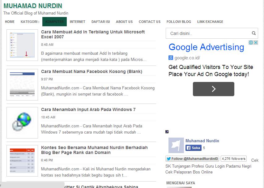 MuhamadNurdin.com – Tempat Belajar Komputer dan Internet